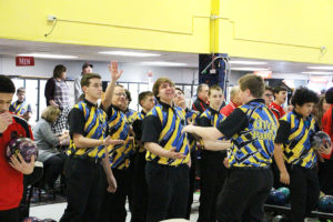 The Panthers celebrate a strike during their match against Alton last Thursday.  (O'Fallon Weekly Photo by Nick Miller)
