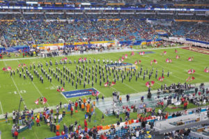 The Marching Panthers perform at the Hard Rock Stadium during the Orange Bowl on Saturday, December 30, 2016. (Photo by Tim Grout)