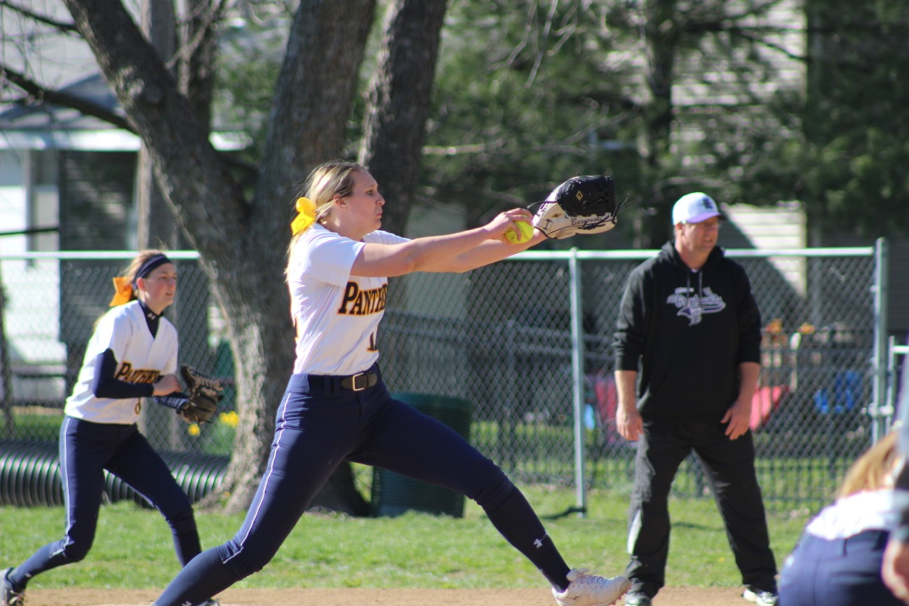 Addison Bornouski fires a pitch against Lebanon in her near no-hitter