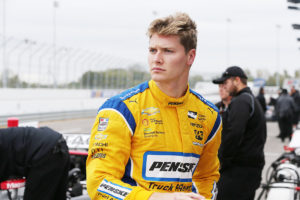 Josef Newgarden looks down pit lane prior to the team test at Gateway Motorsports Park (Photo by INDYCAR Photo – Chris Jones)